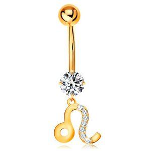 Piercing do pupka zo žltého zlata 375 - číry zirkón, symbol zverokruhu - LEV