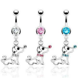 Piercing do pupku psík s obojkom zo zirkónov - Farba zirkónu: Číra - C