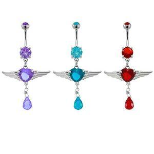 Piercing do pupku srdiečko s anjelskými krídlami - Farba zirkónu: Fialová - A