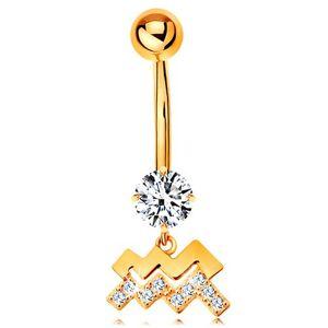 Piercing do pupku v žltom 9K zlate - číry zirkón, symbol znamenia VODNÁR