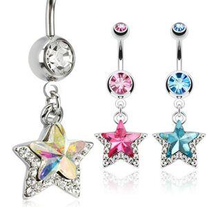 Piercing do pupku z chirurgickej ocele, hviezda s kamienkami - Farba zirkónu: Číra - C