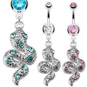 Piercing do pupku z ocele - trblietavý zvlnený had so zirkónmi - Farba zirkónu: Ružová - P