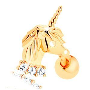 Piercing do ucha v žltom 14K zlate - jednorožec, línia čírych zirkónikov