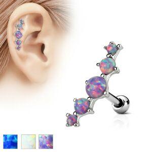 Piercing do ucha z ocele 316L, oblúk z piatich syntetických opálov - Farba piercing: Modrá