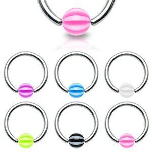 Piercing - krúžok s pásikavou guličkou - Rozmer: 1,2 mm x 10 mm x 4x4 mm, Farba piercing: Číra