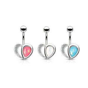 Piercing z 316L ocele do pupku v striebornej farbe - srdce, opálové odlesky, kryštáliky, 1,6 mm - Farba: Ružová