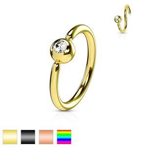 Piercing z chirurgickej ocele, lesklý krúžok, gulička s čírym zirkónom - Hrúbka piercingu: 0,8 mm, Farba piercing: Čierna