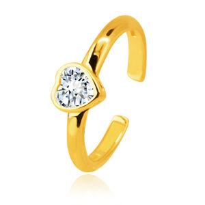 Piercing zo 14K zlata do ucha - kruh ozdobený zirkónom v srdiečkovej objímke