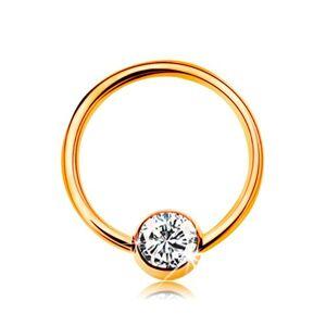 Piercing zo žltého 9K zlata - malý krúžok s guličkou, číry zirkón, 8 mm