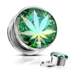 Plug do ucha z 316L ocele - list marihuany na zelenom podklade, glazúra  - Hrúbka: 14 mm