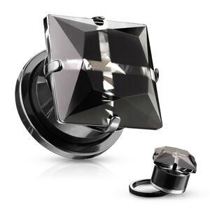 Plug do ucha z 316L ocele - štvorcový zirkón, krížik, lesklý povrch, PVD úprava - Hrúbka: 6 mm