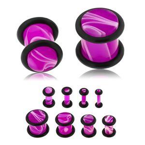 Plug do ucha z akrylu fialovej farby, biely mramorový vzor, dve gumičky - Hrúbka: 5 mm