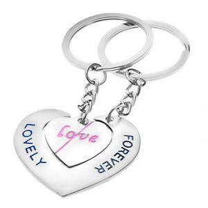 Prívesky na kľúče pre zamilovaných - srdcia s nápismi LOVE a LOVELY FOREVER