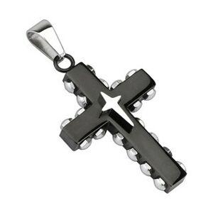 Prívesok - čierny oceľový kríž, nity striebornej farby