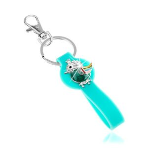 Prívesok na kľúče, silikónová časť v tyrkysovej farbe, pestrofarebný vtáčik