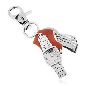 Prívesok na kľúče - tmavosivý povrch zdobený matnou patinou, náramkové hodinky