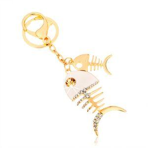 Prívesok na kľúče v zlatom odtieni, dve lesklé rybie kosti, biela glazúra, zirkóny