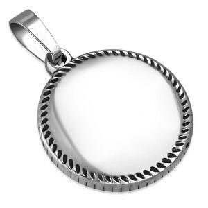 Prívesok striebornej farby z ocele - krúžok s drobnými slzičkami po obvode