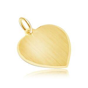 Prívesok v žltom 14K zlate - súmerné saténové srdce, lesklý okraj