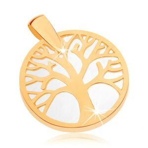 Prívesok v žltom 9K zlate - strom života v obryse kruhu, perleťový podklad