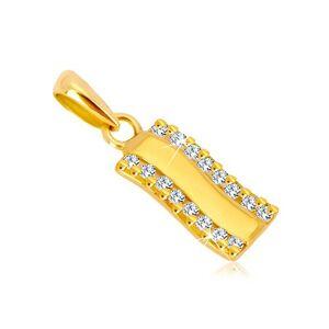 Prívesok v žltom zlate 585 - lesklý zvlnený pás, zvislé zirkónové línie