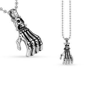Prívesok z chirurgickej ocele - kostra ruky a lebka
