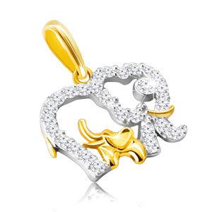Prívesok z kombinovaného 14K zlata - kontúra slona vykladaná zirkónmi, menší sloník vo vnútri