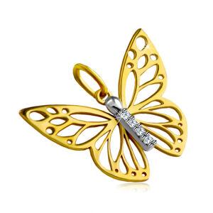 Prívesok z kombinovaného 14K zlata - motýlie krídla s výrezmi, krátka zirkónová línia