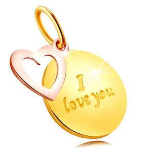 """Prívesok z kombinovaného 585 zlata - okrúhla známka s nápisom """"I love you"""", kontúra srdca"""