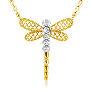 Prívesok z kombinovaného 9K zlata - vážka s mriežkovanými krídlami, číre zirkóniky