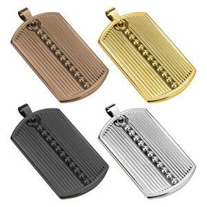 Prívesok z ocele 316L, podlhovastá známka, zárezy, guličky, rôzne farby - Farba: Zlatá