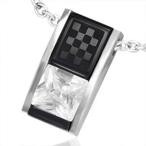 Prívesok z ocele - dvojfarebná skosená tehlička so zirkónom a šachovnicou