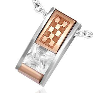 Prívesok z ocele - skosená tehlička so zirkónom a medenou šachovnicou