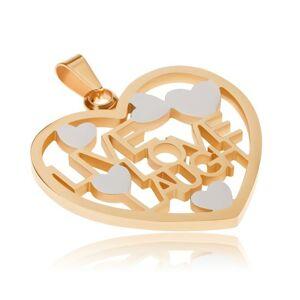 Prívesok z ocele zlato-striebornej farby, obrys srdca, LIVE, LOVE, LAUGH