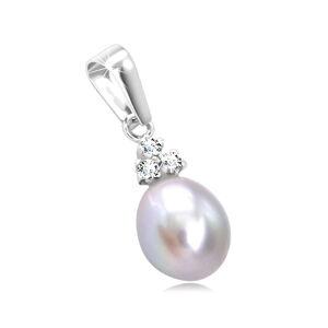 Prívesok zo 14K bieleho zlata - oválna sivá perla, číre zirkóny v kotlíku
