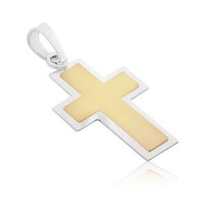 Prívesok zo 14K zlata - dvojfarebný krížik s matným stredom