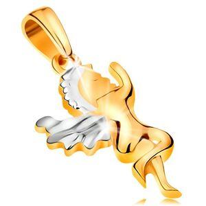 Prívesok zo 14K zlata - lesklý dvojfarebný anjel, krídla a vlasy z bieleho zlata