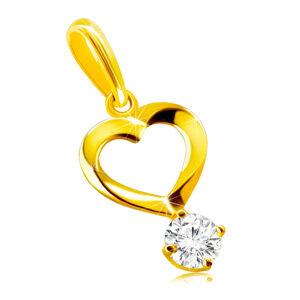 Prívesok zo 14K zlata - motív srdca so zatočenými líniami, okrúhly číry zirkón v kotlíku