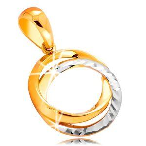 Prívesok zo 14K zlata - prepojené obruče s gravírovaním, dvojfarebné prevedenie