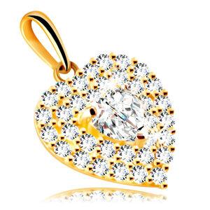 Prívesok zo 14K zlata - srdce zdobené trblietavými zirkónmi so vsadeným zirkónovým srdiečkom