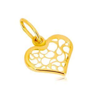 Prívesok zo 14K žltého zlata - symetrické srdce zdobené filigránom