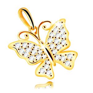 Prívesok zo žltého 14K zlata - motýľ ozdobený čírymi ligotavými zirkónmi