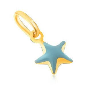Prívesok zo žltého 9K zlata - trblietavá vypuklá modrá hviezda, glazúra