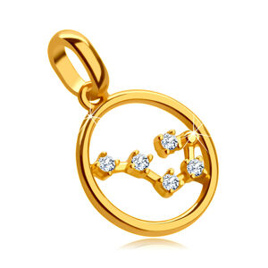 """Prívesok zo žltého 9k zlata, znamenie """"Rak"""", kruh, číre zirkóny"""