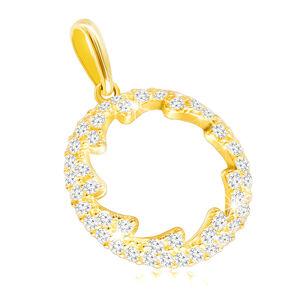Prívesok zo žltého zlata 585 - obrys kruhu s kvietkovaným výrezom, číre zirkóniky