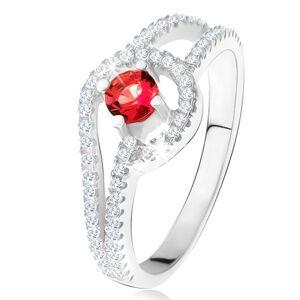 Prsteň s červeným okrúhlym kameňom, drobné číre zirkóny, striebro 925 - Veľkosť: 51 mm