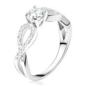 Prsteň s čírym okrúhlym kameňom, zirkónové slučky, striebro 925 - Veľkosť: 67 mm