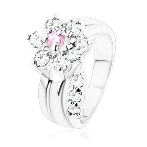 Prsteň s hladkými ramenami, zirkónový kvietok v ružovom a čírom odtieni - Veľkosť: 59 mm