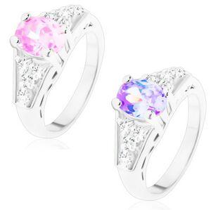 Prsteň s lesklými ramenami, brúsený oválny zirkón, štvorice čírych zirkónov - Veľkosť: 54 mm, Farba: Ružová