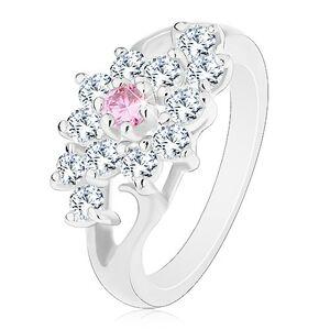Prsteň s lesklými rozdelenými ramenami, číry kvietok s ružovým stredom - Veľkosť: 49 mm